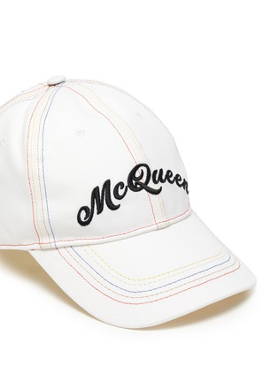Detail View - Click To Enlarge - ALEXANDER MCQUEEN - Rainbow Topstitch Logo Embroidered Cap