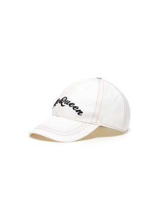 Main View - Click To Enlarge - ALEXANDER MCQUEEN - Rainbow Topstitch Logo Embroidered Cap