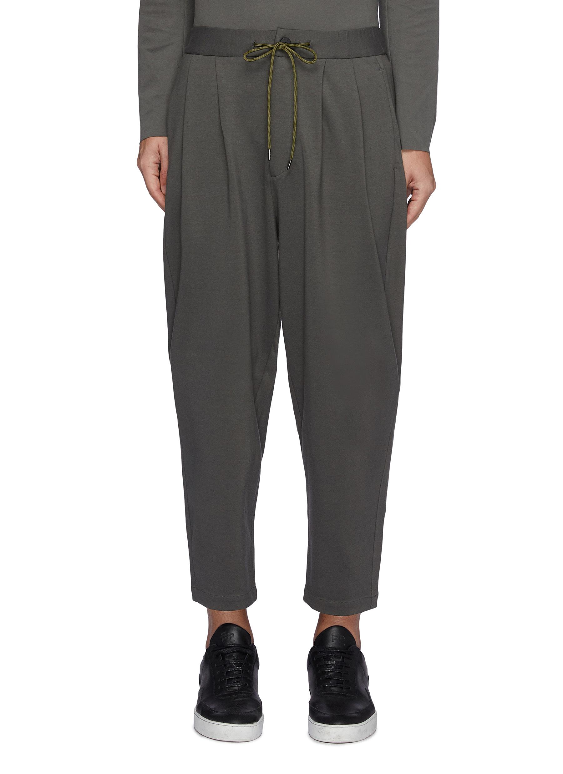 Compressed Ponte Jersey Two Pleats Tapered Fit Easy Pants