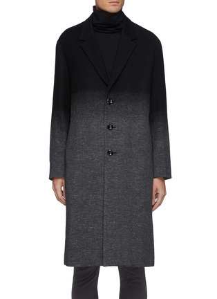 Main View - Click To Enlarge - ATTACHMENT - Single Breasted Wool Cashmere Faded Contrast Long Coat