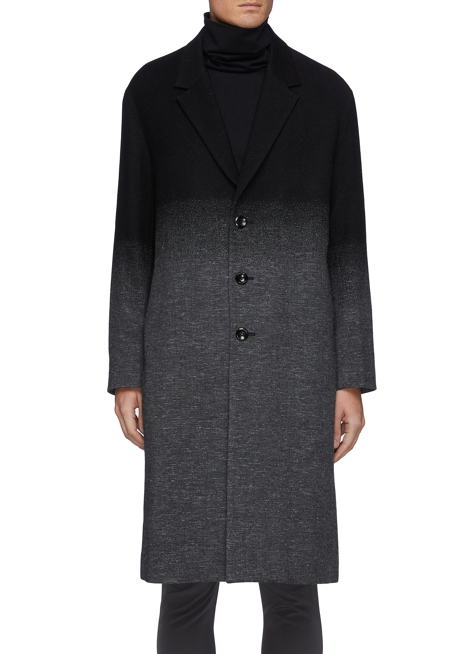 Single Breasted Wool Cashmere Faded Contrast Long Coat