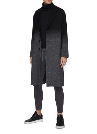 Figure View - Click To Enlarge - ATTACHMENT - Single Breasted Wool Cashmere Faded Contrast Long Coat