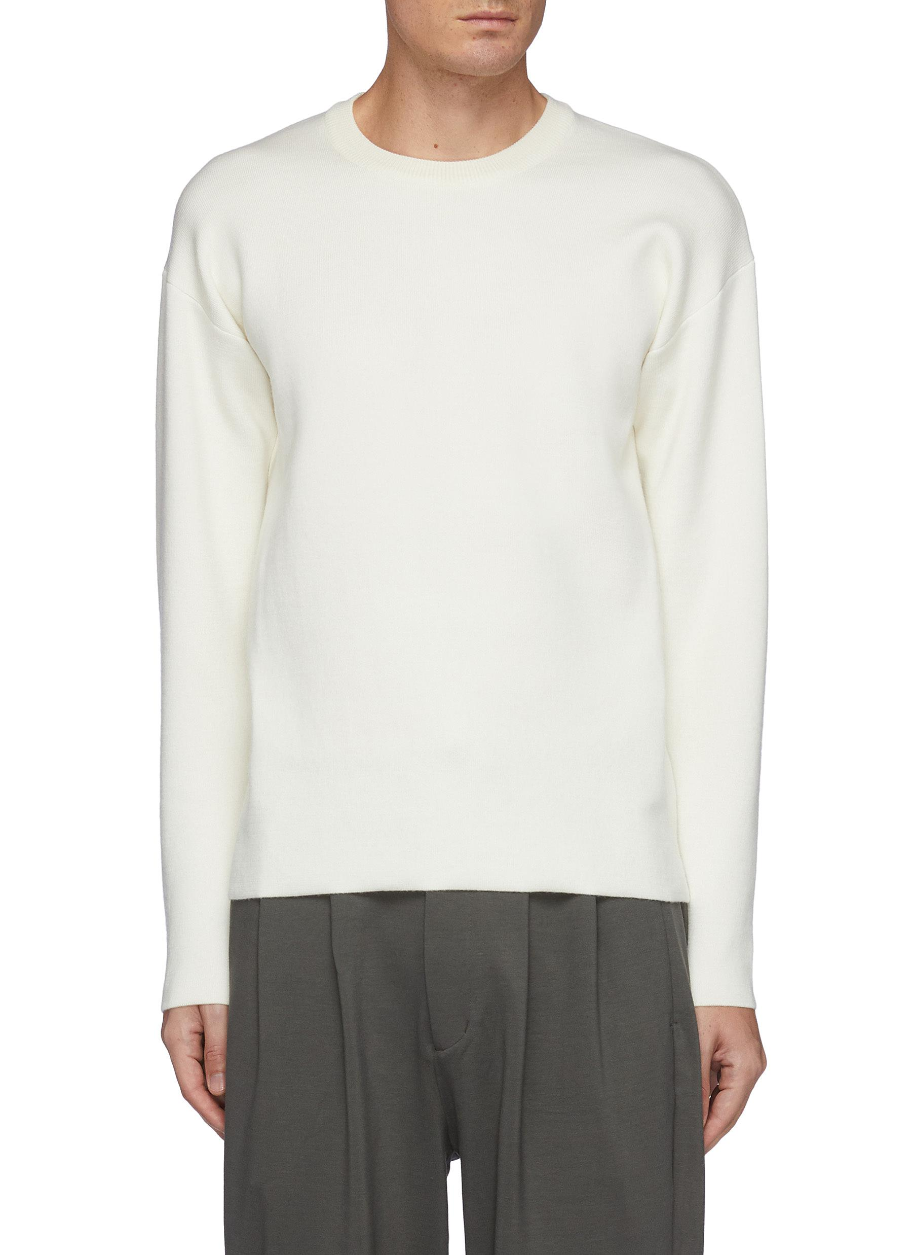 Double Face Wool Knit Crewneck Pullover