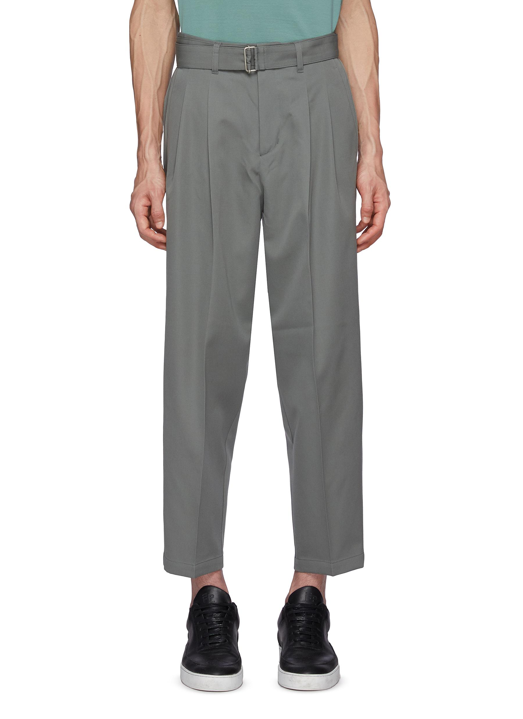 Tapered Fit Wool Gyabardine Two Pleats Belted Trousers