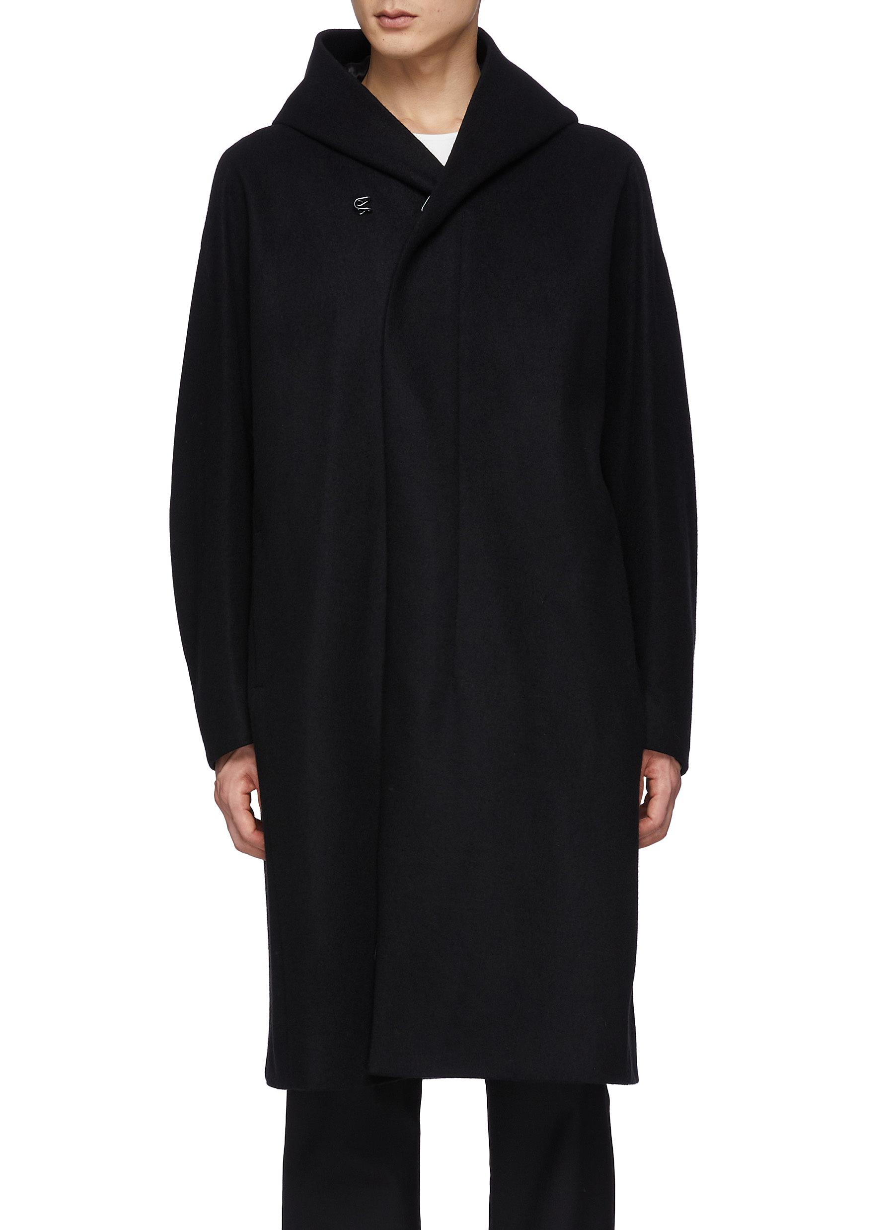 Double Breasted Zip-up/Snap Button Cashmere Wool Blend Triple Layer Hooded Coat