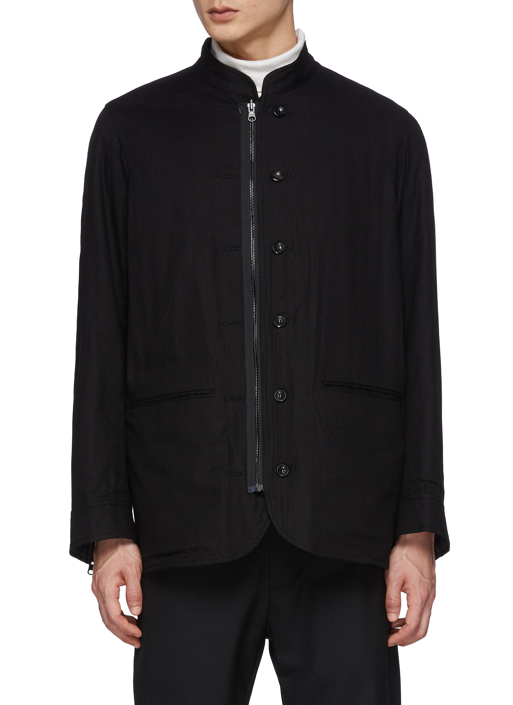 Stand Collar Zip-up/Button Cotton Viyella Reversible Jacket