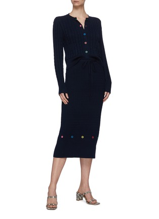 Figure View - Click To Enlarge - STAUD - 'Hunter' cable knit midi skirt