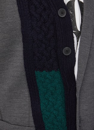- KOLOR - Wool Cable Knit Panelled Single Breasted Blazer