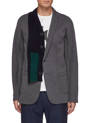 Main View - Click To Enlarge - KOLOR - Wool Cable Knit Panelled Single Breasted Blazer