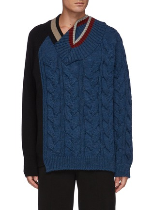 Main View - Click To Enlarge - KOLOR - Asymmetric Cable Wool Knit Sweater