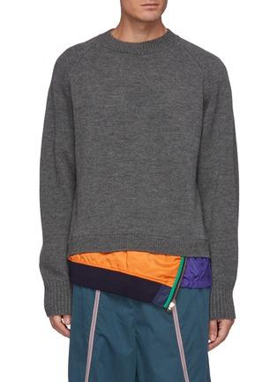 Main View - Click To Enlarge - KOLOR - Windbreaker Hem Wool Sweater