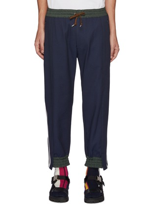 Main View - Click To Enlarge - KOLOR - Deconstructed Side Striped Drawstring Jogger Pants