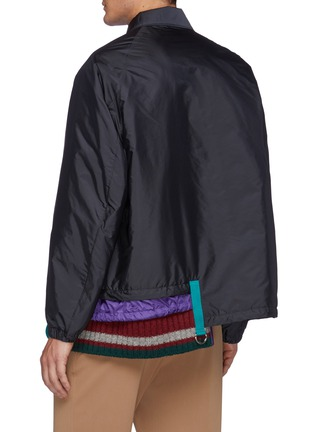 Back View - Click To Enlarge - KOLOR - Asymmetric Knitted Hem Button Up Nylon Jacket