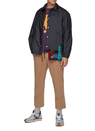 Figure View - Click To Enlarge - KOLOR - Asymmetric Knitted Hem Button Up Nylon Jacket