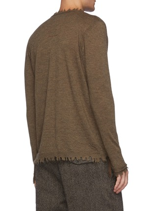 Back View - Click To Enlarge - UMA WANG  - Raw Edged Textured Cashmere Knit Sweater