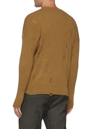 Back View - Click To Enlarge - UMA WANG  - Distressed Ribbed Cashmere Knit Crewneck Sweater