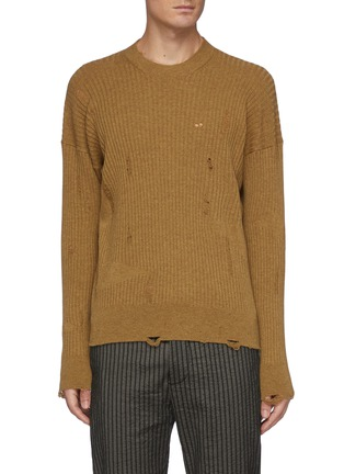 Main View - Click To Enlarge - UMA WANG  - Distressed Ribbed Cashmere Knit Crewneck Sweater