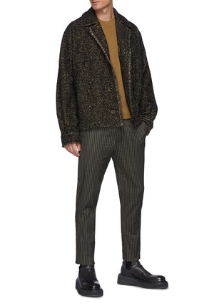 Figure View - Click To Enlarge - UMA WANG  - Distressed Ribbed Cashmere Knit Crewneck Sweater