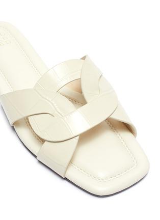 Detail View - Click To Enlarge - PEDDER RED - Cameron' loop croc embossed leather slide sandals