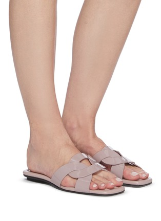 Figure View - Click To Enlarge - PEDDER RED - Cameron' loop patent leather slide sandals