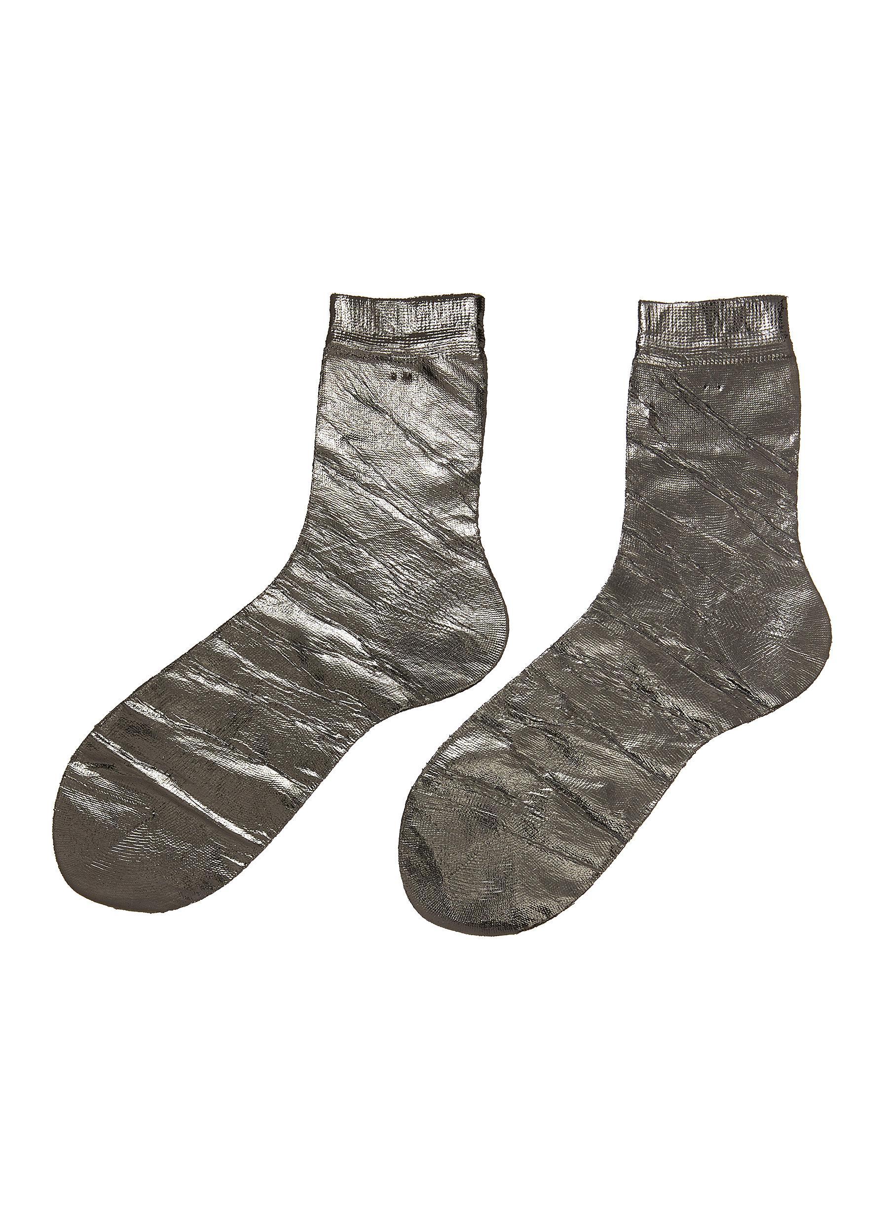 Laminated One' Foil Effect Silk Blend Crew Socks