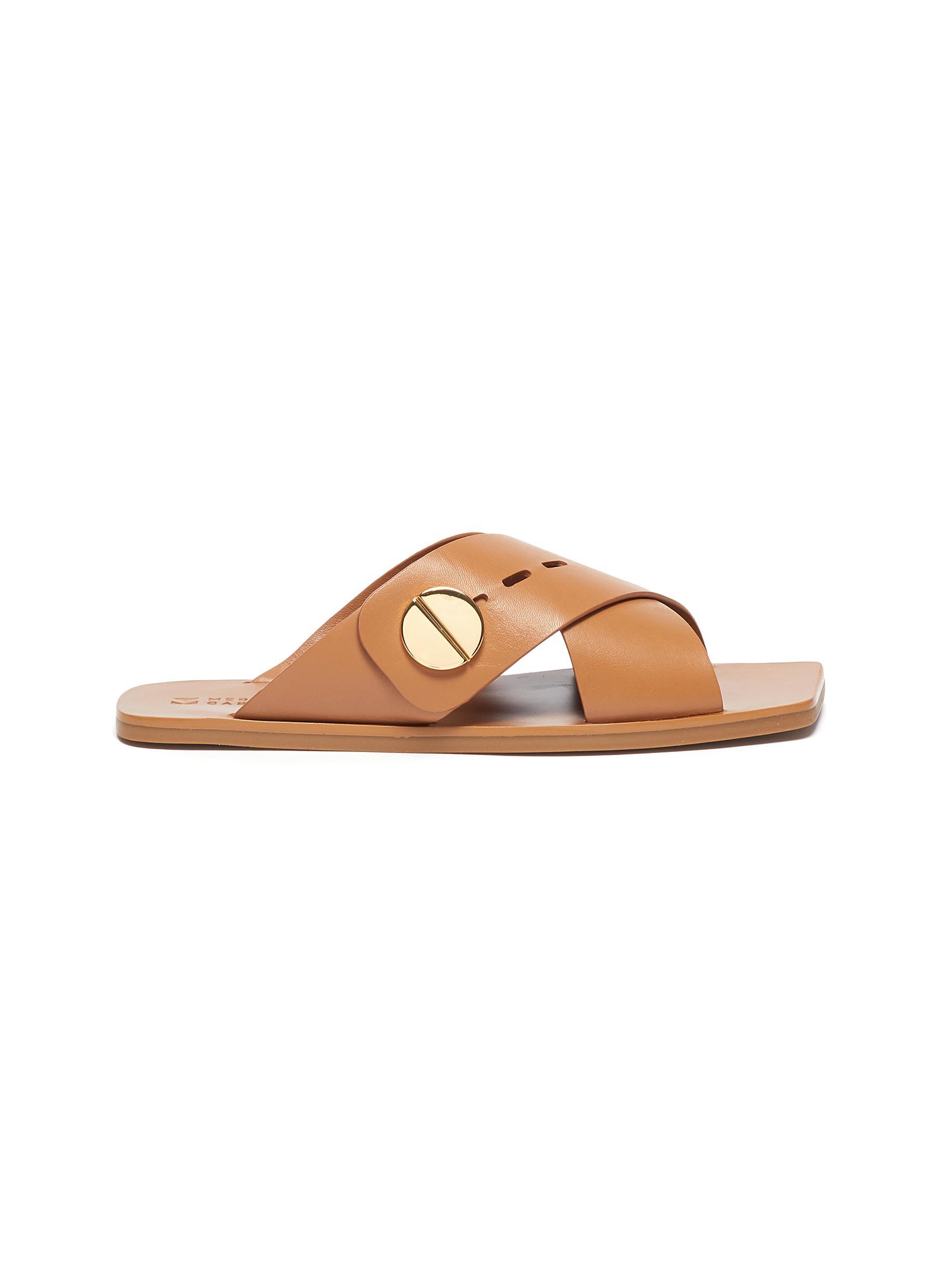 Agatha' Crisscross Band Flat Leather Sandals