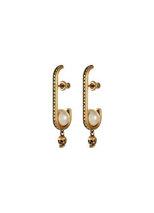 Main View - Click To Enlarge - ALEXANDER MCQUEEN - Swarovski pearl crystal pavé dangling skull hoop earrings