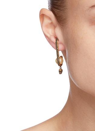 Figure View - Click To Enlarge - ALEXANDER MCQUEEN - Swarovski pearl crystal pavé dangling skull hoop earrings