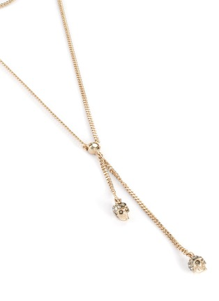 Detail View - Click To Enlarge - ALEXANDER MCQUEEN - Swarovski crystal Embellished double wrap chain skull necklace