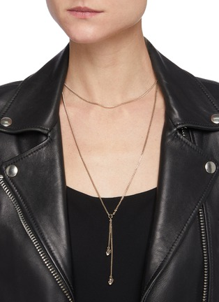 Figure View - Click To Enlarge - ALEXANDER MCQUEEN - Swarovski crystal Embellished double wrap chain skull necklace