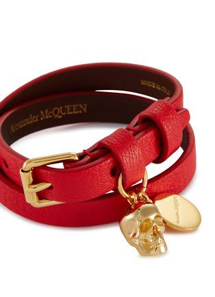 Detail View - Click To Enlarge - ALEXANDER MCQUEEN - Logo Plaque Skull Motif Charm Double Wrap Leather Bracelet