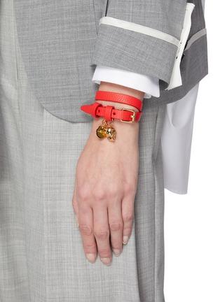 Figure View - Click To Enlarge - ALEXANDER MCQUEEN - Logo Plaque Skull Motif Charm Double Wrap Leather Bracelet