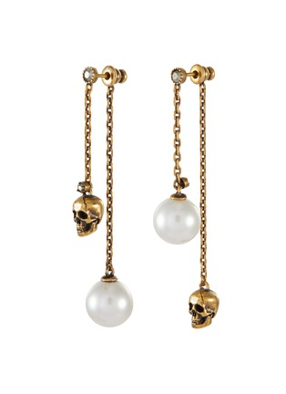Main View - Click To Enlarge - ALEXANDER MCQUEEN - Swarovski pearl skull drop chain earrings