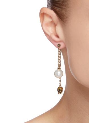 Figure View - Click To Enlarge - ALEXANDER MCQUEEN - Swarovski pearl skull drop chain earrings