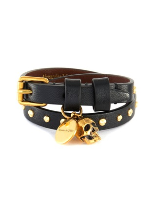 Main View - Click To Enlarge - ALEXANDER MCQUEEN - Leather double wrap studded skull bracelet