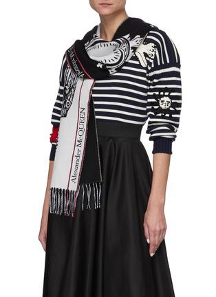 Figure View - Click To Enlarge - ALEXANDER MCQUEEN - Mystic selvedge logo wool scarf