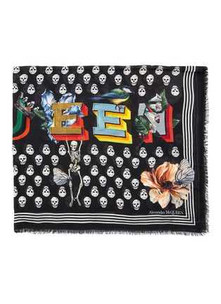 Detail View - Click To Enlarge - ALEXANDER MCQUEEN - Skull floral print pashmina foulard scarf