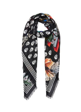 Main View - Click To Enlarge - ALEXANDER MCQUEEN - Skull floral print pashmina foulard scarf