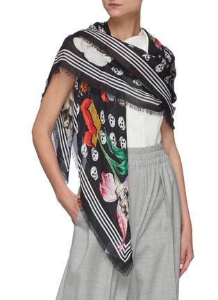 Figure View - Click To Enlarge - ALEXANDER MCQUEEN - Skull floral print pashmina foulard scarf