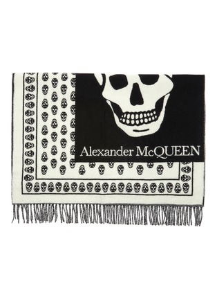 Detail View - Click To Enlarge - ALEXANDER MCQUEEN - Oversized skull jacquard wool stole