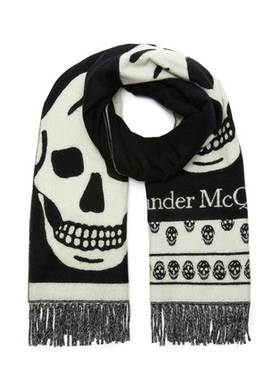 Main View - Click To Enlarge - ALEXANDER MCQUEEN - Oversized skull jacquard wool stole