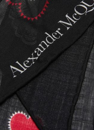 Detail View - Click To Enlarge - ALEXANDER MCQUEEN - Printed motif logo skinny wool scarf
