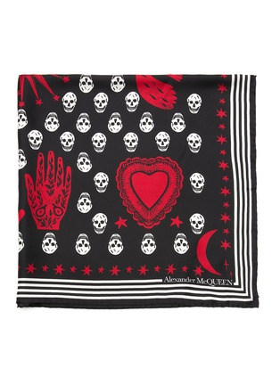 Detail View - Click To Enlarge - ALEXANDER MCQUEEN - Mystic skull graphic silk foulard scarf