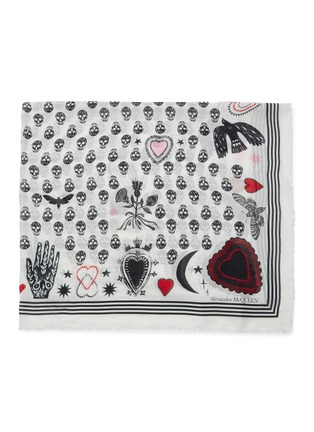 Detail View - Click To Enlarge - ALEXANDER MCQUEEN - Mystic skull graphic foulard scarf