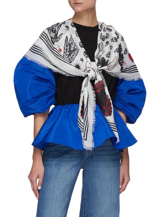Figure View - Click To Enlarge - ALEXANDER MCQUEEN - Mystic skull graphic foulard scarf