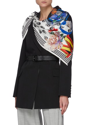 Figure View - Click To Enlarge - ALEXANDER MCQUEEN - Fun fonts twill foulard scarf