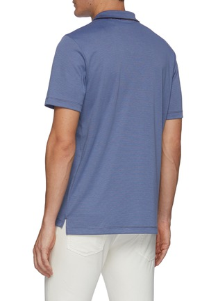 Back View - Click To Enlarge - THEORY - Stripe collar polo shirt