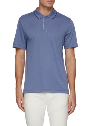 Main View - Click To Enlarge - THEORY - Stripe collar polo shirt