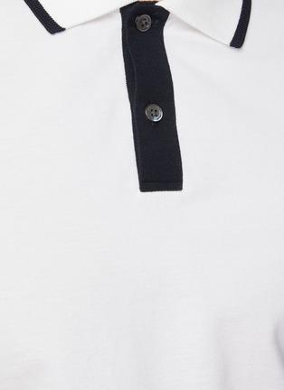 - THEORY - Contrast stripe pima pique polo shirt