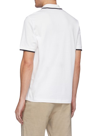 Back View - Click To Enlarge - THEORY - Contrast stripe pima pique polo shirt
